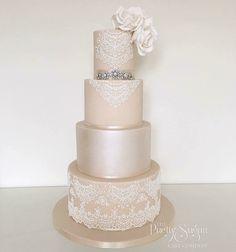 Champagne lustre lace wedding dress inspired wedding cake