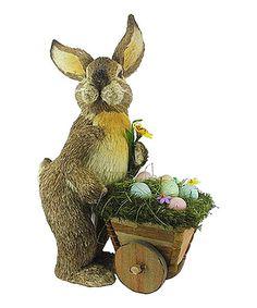 This Bunny & Wheelbarrow Figurine is perfect! #zulilyfinds