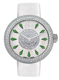 Jacob  Co.'s Brilliant Collection with a Stainless Steel Case and Full Pavé Round Diamonds and Tsavorites #JacobArabo #JacobandCo. #Brilliant