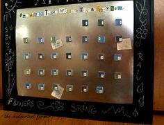 Sheet Metal, Tile magnets, Chalkboard paint, Calendar board, Craft tutorial...whew!