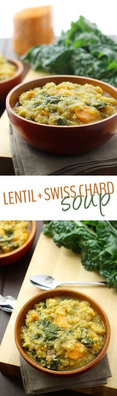 A comforting bowl of Hearty Lentil and Swiss Chard Soup can warm up your body and soul through the fall and winter months. The perfect healthy soup recipe!