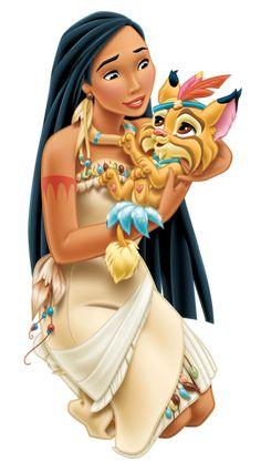 Disney Princess Pocahontas with Little Tiger Transparent PNG Clip Art Image