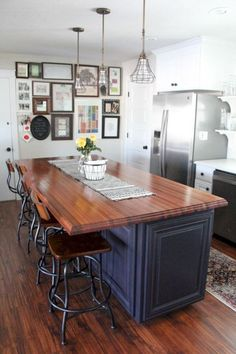 Butcher Block Hardwood Countertops Our DIY Kitchen Renovation, Wood Countertops, Painted Cabinets, Industrial Modern Farmhouse www. Farmhouse Kitchen Island, Modern Farmhouse Kitchens, Vintage Farmhouse, Country Kitchen, Home Kitchens, Kitchen Islands, Kitchen Modern, Vintage Wood, Farmhouse Ideas