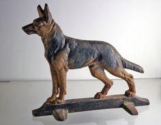 Antique German Shepherd Dog Door Stop Cast Iron