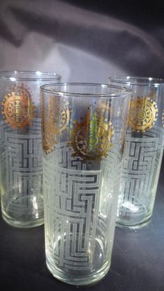 Williamson Slim Jim Glasses Set 3 Vintage Original Tumblers Retro 60s Chance Fiesta England Industrial Collectable Gift Very Good Condition