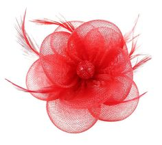 EOZY Women Wedding Holiday Mesh Veil Charming Hair Accessory Headwear 10*10*6cm Red -- For more information, visit image link.