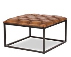 Square Stool Coffee Table Leather Top Iron Base Traditional Style Ships Free #Traditional