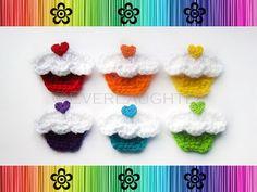 Cupcake Applique pattern by Patricia Eggen Quick Crochet, Learn To Crochet, Cute Crochet, Crochet Motif, Crochet Baby, Crochet Patterns, Crochet Appliques, Crochet Ideas, Applique Patterns