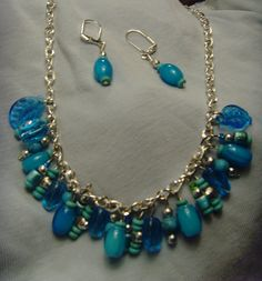 Turquoise Multi Charm Stone and Glass Necklace and Earrings Set with Silver Accents on Etsy, $31.00