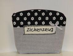 Schminktäschchen  *Zickenzeug* schwarz-weiß von byGretchen auf DaWanda.com