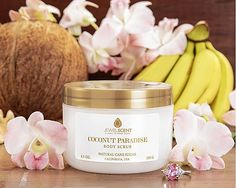 Enjoy the luscious aromas of warm coconut notes melded with sweet banana tones, for scent so decadent you will feel like you have been transported to a tropical paradise. Our scrubs are made from natural cane sugar, known to produce glycolic acid - one of the natural alpha hydroxy acids that exfoliates the skin. Anti-aging technology helps rejuvenate, soften, and brighten the skin. www.jewelscent.com/KarinGriffis #JSRocks #JSFits #JewelScent