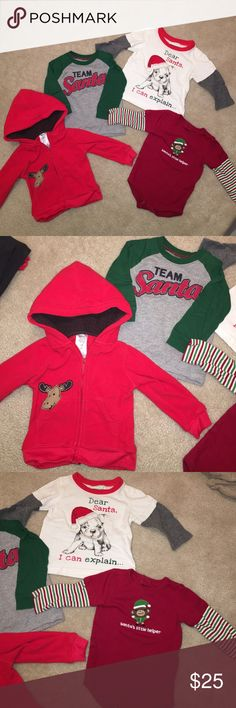 🎄 Christmas 3 Shirt 1 Fleece Jacket Toddler 12M Hi! This bundle includes three long sleeve Christmas T-shirts (the red one is a long sleeve onesie, Gymboree size 6-12M. The Dear Santa shirt is First Impressions 12M, and the Dear Santa & Reindeer Fleece Jacket are Carter's 12M. They have been kept in a clean, smoke free, pet free home. Carter's Shirts & Tops