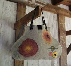 Felt tote bag grey wool leather handles