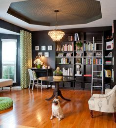 before & after: dining room turned library – Design*Sponge Library Design, Modern Library, Library Ideas, Home Libraries, Black Walls, New Wall, Decoration, Sweet Home, House Styles