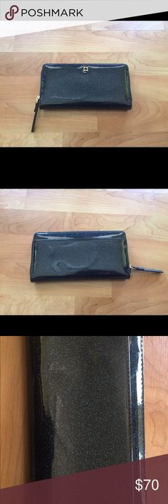 Kate Spade Mavis Neda Glitter Continental Wallet Like new. No damages. Color: Off Shore kate spade Bags Wallets