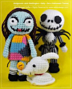 Amigurumi Halloween Dolls Jack Skelington Sally by rabbizdesign