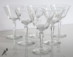 Gorgeous Set of 6 Etched Wheel Cut Crystal by TheCordialMagpie