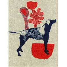 Blue Romeo by Maxine Sutton Screen printed and embroidered textile