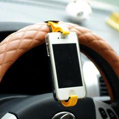 Min. order is $15 (mix order) multifunction fitted seat car steering wheel mobile phone holder navigation frame 3523 color black US $2.53