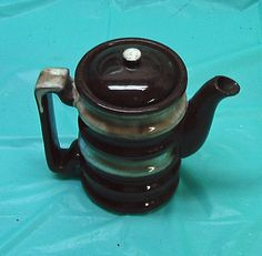 Ceramic Brown Drip Coffee Pot With Lid Vintage Unmarked