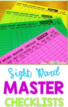 Use these free master sight word checklists to provide whole class sight word data. All you student sight word data in one place.