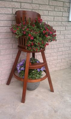 old high chair ideas shooting with rest rescued highchair now planter i love this have a great way to use your