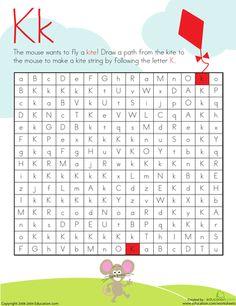 Worksheets: Letter Maze: K