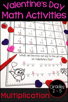 Valentine's Day multiplication activities for your 2nd grade, 3rd grade, 4th grade, or 5th grade students. These multiplication worksheets will have students practicing their multiplication facts and answering Valentine's Day riddles. Low prep for the teacher and engaging Valentine's Day activities for the students. Use as whole class math lessons or put in your math centers! #ValentinesDay #multiplication Multiplication Activities, Teaching Activities, Math Resources, Teaching Math, Teaching Ideas, Classroom Resources, Maths, Classroom Ideas, Valentine Riddles