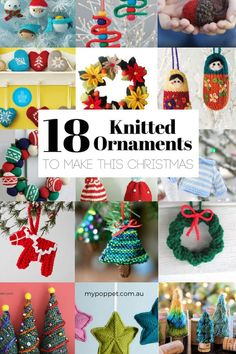 18 knitted ornaments to make this christmas fabric crafts fo Knitted Christmas Decorations, Knit Christmas Ornaments, Popsicle Stick Christmas Crafts, Christmas Fabric Crafts, Crochet Christmas Gifts, Christmas Crafts For Toddlers, Christmas Knitting, Holiday Crafts, Christmas Diy