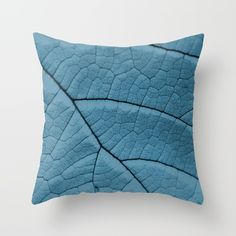 Blue Leaf Throw Pillow by ARTbyJWP #pillows #cushion #throwpillow #blue #homedecor  ---   Throw Pillow made from 100% spun polyester poplin fabric, a stylish statement that will liven up any room. Individually cut and sewn by hand, each pillow features a double-sided print and is finished with a concealed zipper for ease of care.  Sold with or without faux down pillow insert.