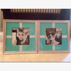 Goodwill frames+last year's calendar pics+Tiffany bag & ribbon= cute Audrey Hepburn decoration