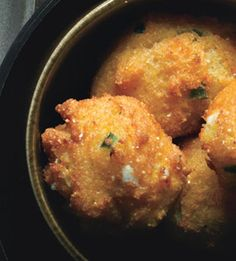 Jalapeño-Goat-Cheese Hush Puppies-instead of deep frying maybe just lightly cook with a olive oil or bake in a  mini cupcake pan