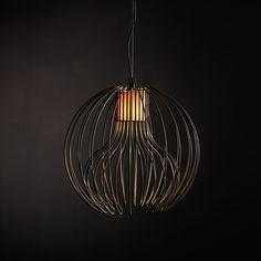 Icaro Ball Light by Brian Rasmussen   A spherical pendant lamp made up of thin steel wires that, like meridians welded at the poles, create a cage from which light filters through. The Icaro Ball can be used in indoors and out and the light bulbs can be protected, in the indoor version, by a fabric stripe.  