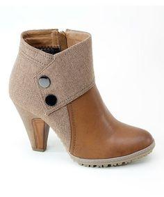 Look at this #zulilyfind! Tan & Camel Snap-Cuff Bootie #zulilyfinds