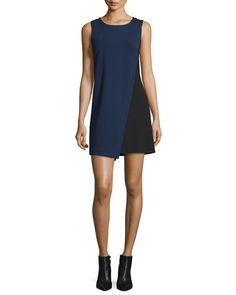 TC6ZC Diane von Furstenberg Livvy Asymmetric Colorblock Dress, Midnight/Black