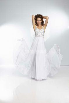 A-line Long Chiffon Natural Waist Criss Cross Back Prom Dress