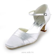 """""""Gorgeous 2\"""" Ruffle Square Toe D'Orsay - White Satin Wedding Shoes (11 colors) $58.98"""""""