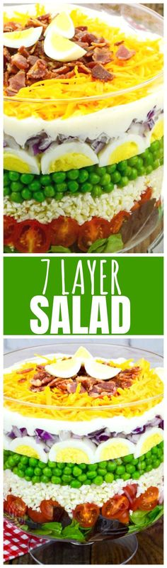 7 Layer Salad--Beautiful, showstopping, make ahead salad thats great for potlucks, church gatherings and Sunday dinner at home with the family!