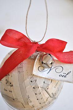 Sheet Music Craft - { Handmade Christmas Ornaments }   I Heart Nap Time - Easy recipes, DIY crafts, Homemaking