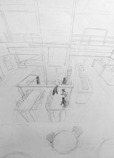 Clara Lieu, Student Artwork, RISD Illustration department, Drawing I: Visualizing Space course, studies on 3 point perspective from direct observation, graphite, 2015