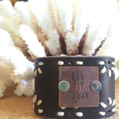 Vintage Leather Cuff Bracelet Hand Stamped Lay it by PunchVintage