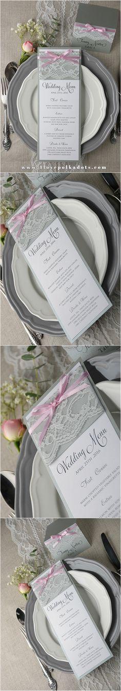 Grey & Pink Wedding Menu #weddingstationery #menu #weddingideas #romantic #lace #elegant
