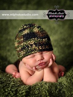 Camouflage Beanie with yellow detachable flower Baby Photography Prop Sizes Preemie, Newborn, 0-3 months, 3-6 months. $14.00, via Etsy.