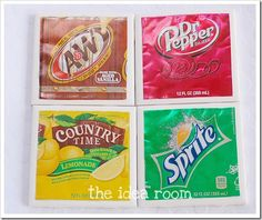 DIY Soda Can Coasters - Fun gift idea or party project for older kids, adults, etc.