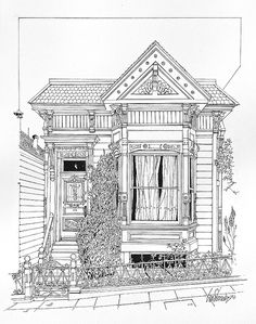 San Francisco Victorian by Ira Shander House Sketch, House Drawing, Drawing Room, House Colouring Pages, Coloring Sheets, House Doodle, Cityscape Drawing, Creepy Houses, Architecture Concept Drawings