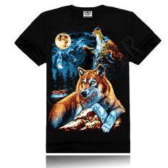 Moon wolf Novelty 3D pattern 100% cotton men t-shirt , punk short shirts