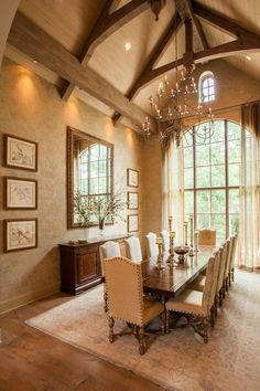 If you are having difficulty making a decision about a home decorating theme, tuscan style is a great home decorating idea. Many homeowners are attracted to the tuscan style because it combines sub… Tuscan Dining Rooms, Elegant Dining Room, Dining Room Design, Mediterranean Living Rooms, Mediterranean Home Decor, Mediterranean Architecture, Mediterranean Dining Tables, H Design, House Design