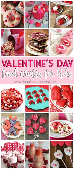 28 Days of Kid's Valentine's Day Food Crafts on Frugal Coupon Living. Valentine Dessert Ideas for the Classroom or Home. Kids Desserts.