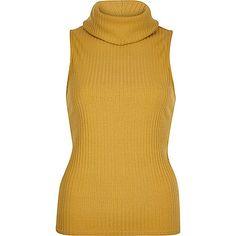Yellow ribbed cowl neck sleeveless top - plain t-shirts / vests - t shirts / vests / sweats - women