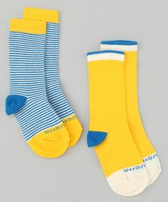 Take a look at this Azure Blue & Polenta Yellow Sailor Stripe Sock Set by Etiquette Clothiers on #zulily today!